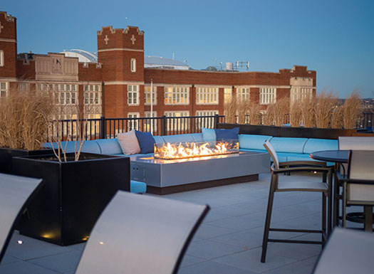 Bell Capitol Hill apartments rooftop firepit and lounge