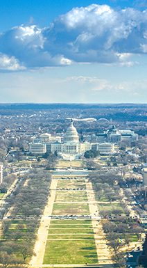 aerial of National Mall in Washington DC